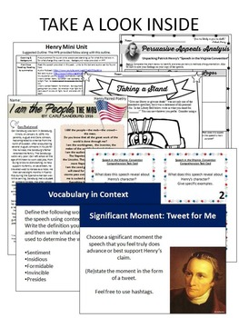 "Patrick Henry's ""Speech in the Virginia Convention"" Teaching Pack"