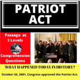 Patriot Act, Differentiated Reading Passage, October 26