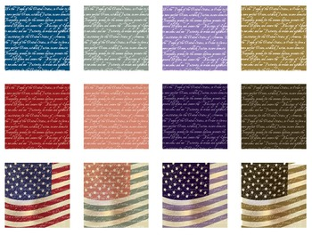 Patriot Craft Papers Antique Styles  Flags & Bill of Rights - 300 dpi - 12 x 12""