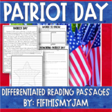 Patriot Day Differentiated Reading Passages   Distance Learning