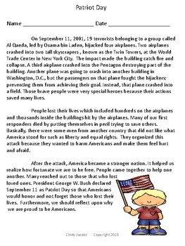 Patriot Day Grades 3 - 5; September 11