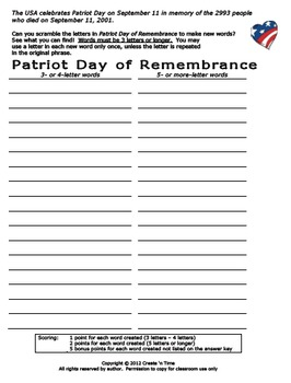 Patriot Day of Remembrance September 11 Letter Scramble Activity