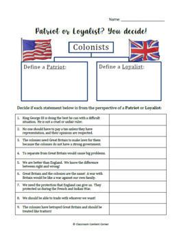 Patriot or Loyalist? You Decide!