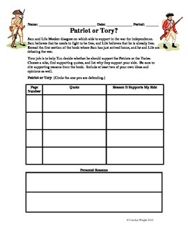 Patriot or Tory? Graphic Organizer for My Brother Sam Is Dead