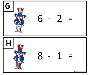 Patriotic Add and Subtract The Room - Math Centers