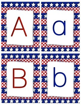 Patriotic Alphabet and Number Flash Cards