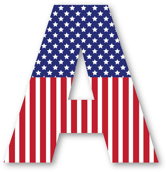 Patriotic Alphabet with Stars and Stripes for Fourth of July