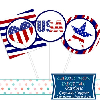Patriotic America Cupcake Toppers / Stickers