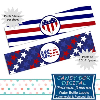 Patriotic America Water Bottle Labels / Napkin Ring DIY Party Decor