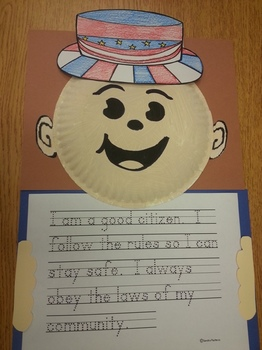 Patriotic American hat & paper plate pattern with US Constitution tracing act.