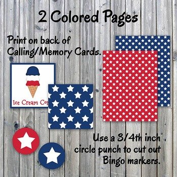 Patriotic Bingo Cards and Memory Game - Printable - Up to 30 players