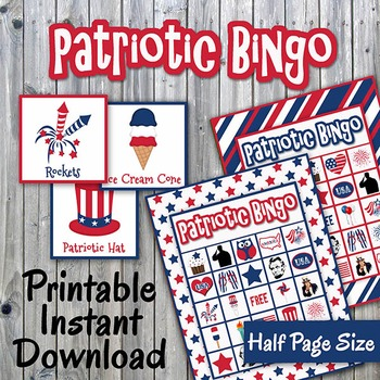 Patriotic Bingo Cards and Memory Game - Printable - Up to