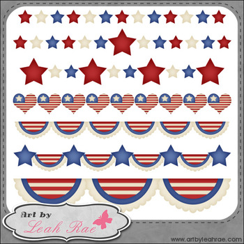Patriotic Borders 1 - Art by Leah Rae Clip Art & Line Art