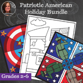 Patriotic Bundle - Collaborative Coloring Sheets -Veteran's Day, President's Day