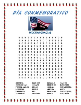 Patriotic Bundle of Word Searches in Spanish- No Prep Activity Package