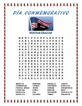 Patriotic Bundle of Word Searches in Spanish- No Prep- Memorial Day