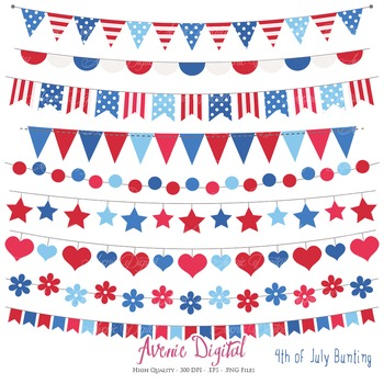 Patriotic Bunting Banner Clipart Scrapbook Vector Clip art 4th of July