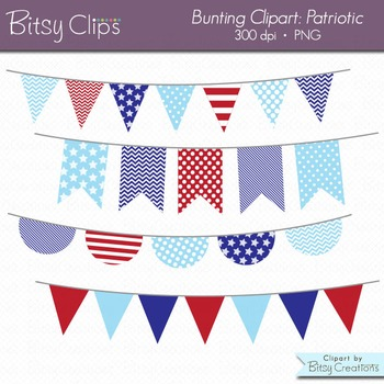 Patriotic Bunting Clipart Digital Art Set Red White and Blue Banner Flag