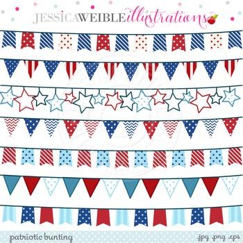 Patriotic Bunting Cute Digital Clipart, Patriotic Banners, 4th of July Clip Art