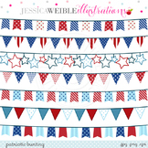 Patriotic Bunting Cute Digital Clipart, Patriotic Banners,