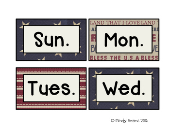 Patriotic Calendar Month and Day Cards