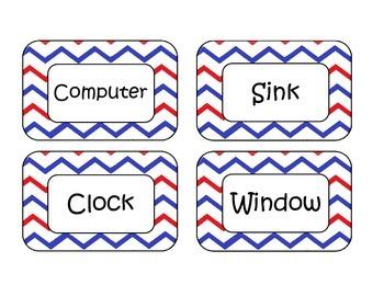 Patriotic Chevron Classroom Labels