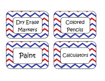 Patriotic Chevron Classroom Labels