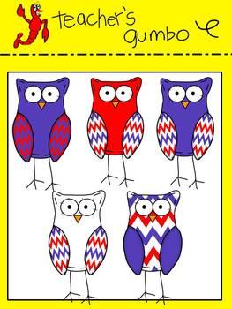 Patriotic Chevron Owl Clipart