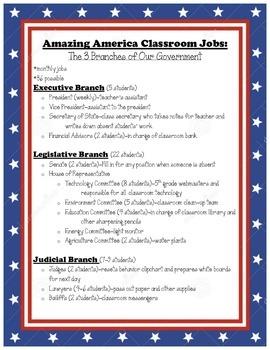 Patriotic Classroom Job Descriptions