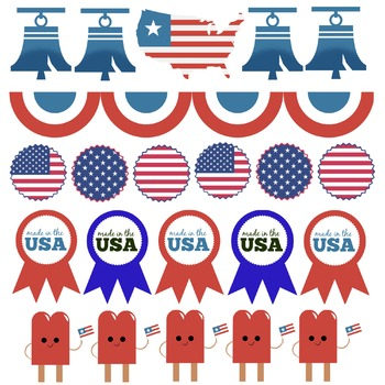 Patriotic Clip Art Borders for Holidays, Civics, US History, America