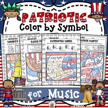Patriotic Color By Symbol  (Music) BUNDLE