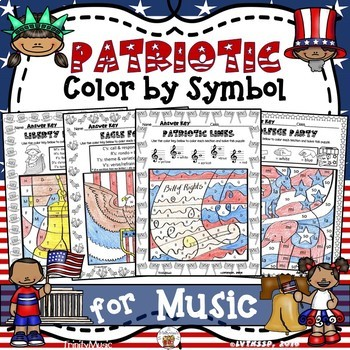 Patriotic Color By Symbol  (Music) BUNDLE