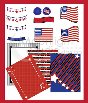 Patriotic Colors Backgrounds, Borders, Banners and American Flags