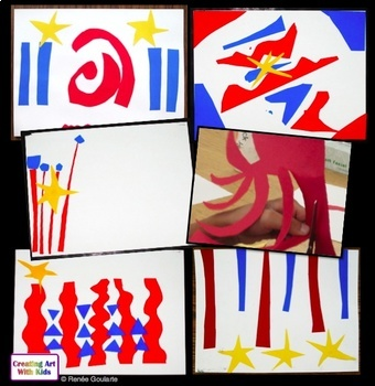 Art Lesson - Patriotic Cut Paper Abstract Collage