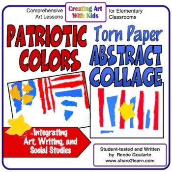 Art Lesson Patriotic Torn Paper Abstract Collage