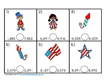 4th of July Comparing Numbers in the 1,000's Task Cards