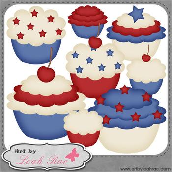 Patriotic Cupcakes 1 - Art by Leah Rae Clip Art & Line Art / Digital Stamps