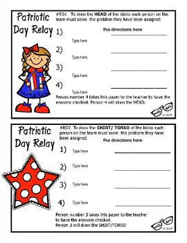 Patriotic Day Relay template - Personal Use Only!