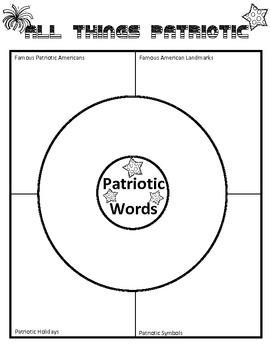 Patriotic Dictionary Dig and Extension Menu Activities