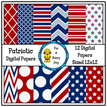 Patriotic Digital Papers (Red, White, & Blue)