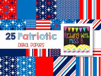 Patriotic Digital Papers - Commercial Use OK!