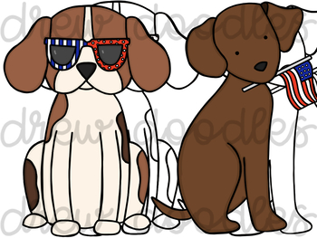 Patriotic Dogs Digital Clip Art Set- Color and Black Line COMBO