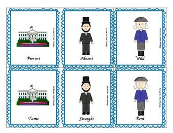 Patriotic Election Vocabulary Task Cards