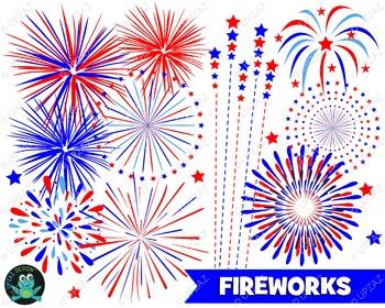 Patriotic Fireworks Clipart  - UZ932