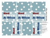 Patriotic Fold Tags for Party Favors - Crayons or Chalk