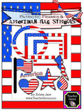 Patriotic Frames and American Flag Symbols Clipart - commercial use okay!