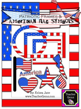 Patriotic Frames and American Flag Symbols Clipart - comme