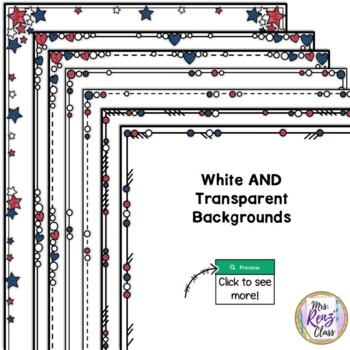 Border Set - Red White and Blue Patriotic Set of Themed Close Edge Borders