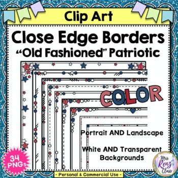 Red White and Blue Patriotic Borders - Red, White and Blue Close Edge Borders