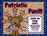 Patriotic Fun Color By Code Addition sums 0-20 Summer, Mem